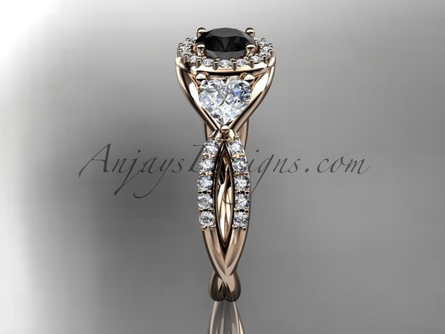 14kt rose gold diamond engagement ring, wedding band with a Black Diamond center stone ADLR321 - AnjaysDesigns
