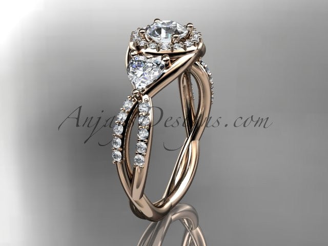 14kt rose gold diamond engagement ring, wedding band ADLR321 - AnjaysDesigns