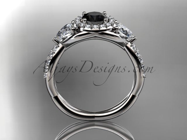 Platinum diamond engagement ring, wedding band with a Black Diamond center stone ADLR321 - AnjaysDesigns