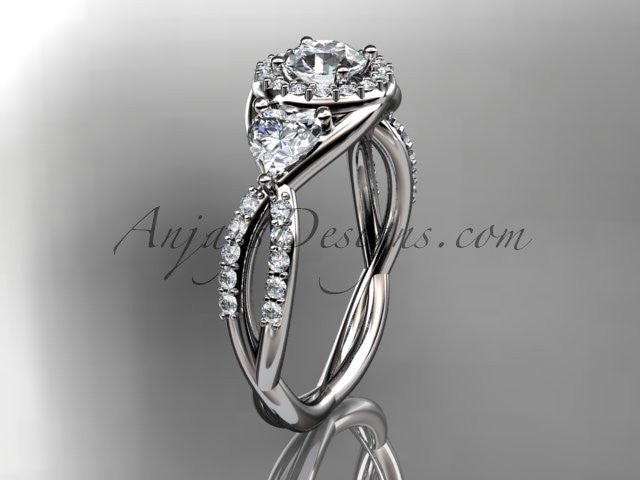 Platinum diamond engagement ring,wedding band ADLR321 - AnjaysDesigns