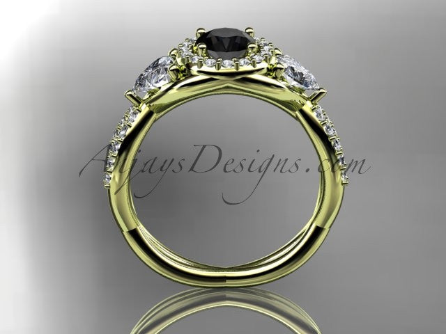 14kt yellow gold diamond engagement ring, wedding band with a Black Diamond center stone ADLR321 - AnjaysDesigns