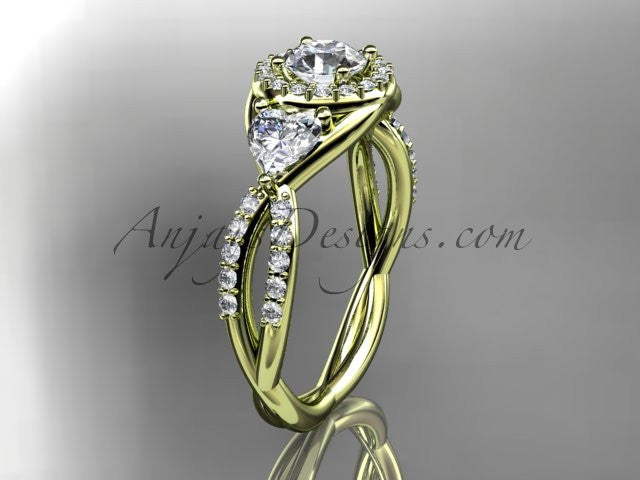 14kt yellow gold diamond engagement ring,wedding band ADLR321 - AnjaysDesigns
