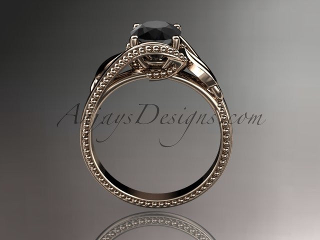 Unique 14kt rose gold engagement ring with a Black Diamond center stone ADLR322 - AnjaysDesigns