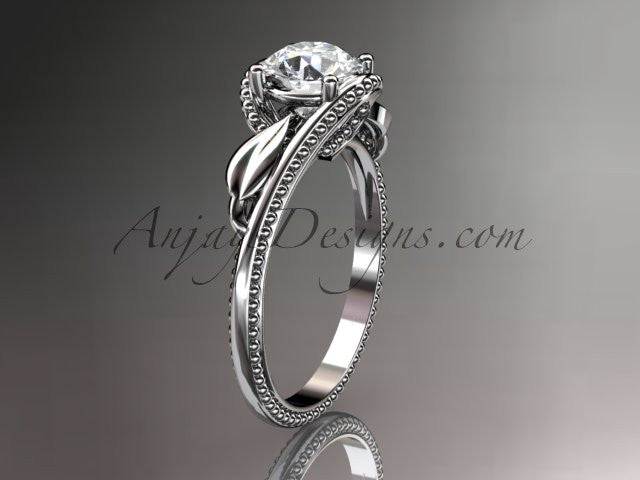 "Unique 14kt white gold engagement ring with a ""Forever One"" Moissanite center stone ADLR322 - AnjaysDesigns"