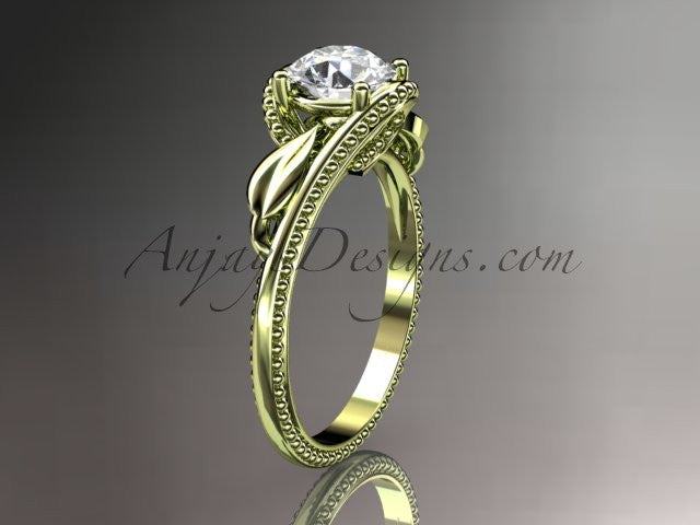 "Unique 14kt yellow gold engagement ring with a ""Forever One"" Moissanite center stone ADLR322 - AnjaysDesigns"