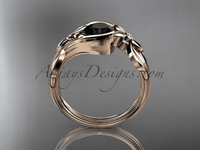 Unique 14kt rose gold diamond floral engagement ring with a Black Diamond center stone ADLR324 - AnjaysDesigns