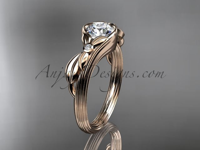Unique 14kt rose gold diamond floral engagement ring ADLR324 - AnjaysDesigns