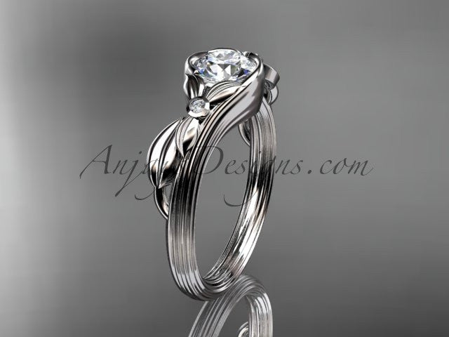 "Unique 14kt white gold diamond floral engagement ring with a ""Forever One"" Moissanite center stone ADLR324 - AnjaysDesigns"