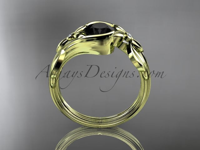 Unique 14kt yellow gold floral engagement ring with a Black Diamond center stone ADLR324 - AnjaysDesigns