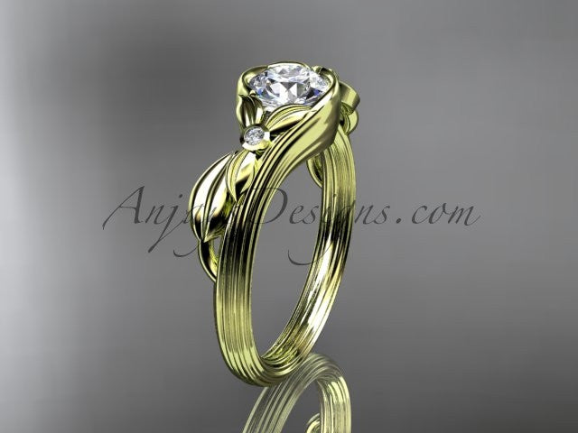 "Unique 14kt yellow gold diamond floral engagement ring with a ""Forever One"" Moissanite center stone ADLR324 - AnjaysDesigns"