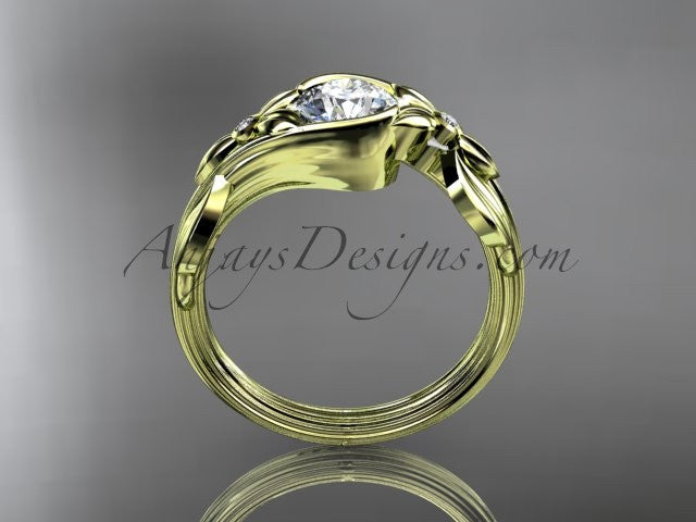 Unique 14kt yellow gold diamond floral engagement ring ADLR324 - AnjaysDesigns