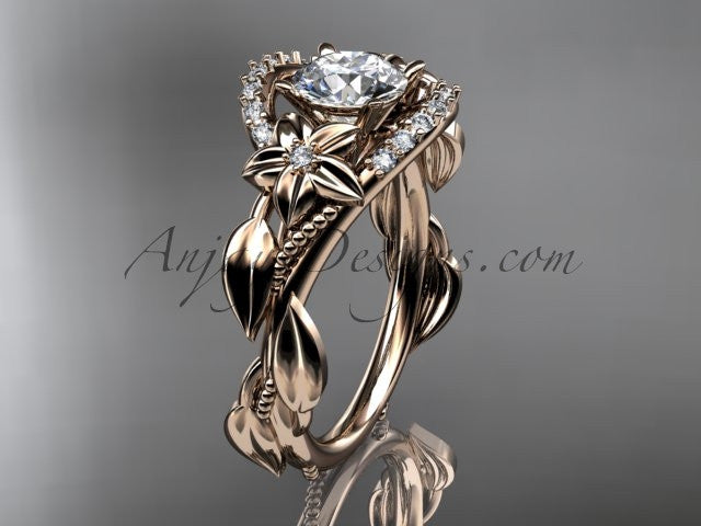 "14kt rose gold diamond unique engagement ring, wedding ring with a ""Forever One"" Moissanite center stone ADLR326 - AnjaysDesigns"