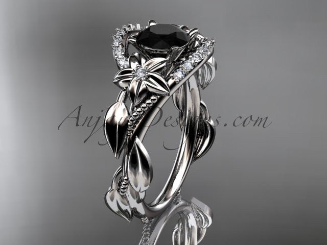 14kt white gold diamond unique engagement ring, wedding ring with a Black Diamond center stone ADLR326 - AnjaysDesigns
