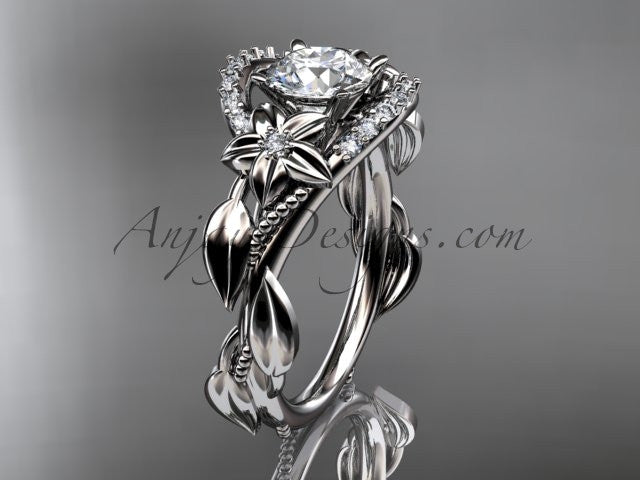 "14kt white gold diamond unique engagement ring, wedding ring with a ""Forever One"" Moissanite center stone ADLR326 - AnjaysDesigns"