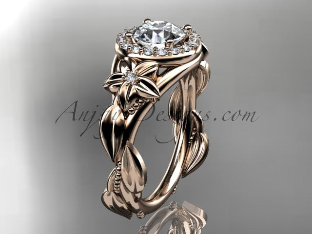 "14k rose gold diamond unique leaf and vine, floral engagement ring with a ""Forever One"" Moissanite center stone ADLR327 - AnjaysDesigns"