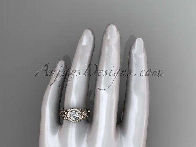 14kt rose gold diamond unique leaf and vine, floral engagement ring ADLR327 - AnjaysDesigns