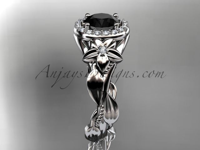 14k white gold diamond unique leaf and vine, floral engagement ring with a Black Diamond center stone ADLR327 - AnjaysDesigns