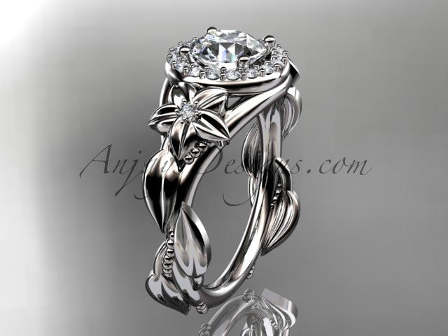 "Platinum diamond unique leaf and vine, floral engagement ring with a ""Forever One"" Moissanite center stone ADLR327 - AnjaysDesigns"