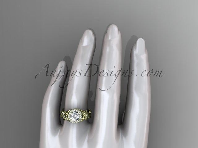 "14k yellow gold diamond unique leaf and vine, floral engagement ring with a ""Forever One"" Moissanite center stone ADLR327 - AnjaysDesigns"