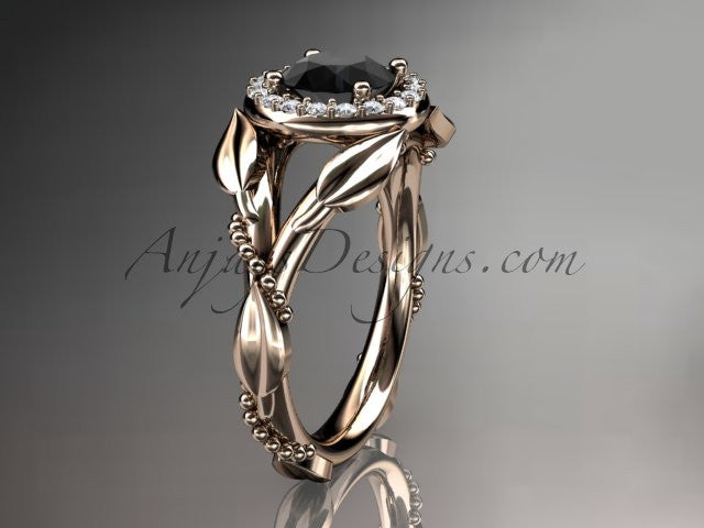 14kt rose gold diamond leaf and vine wedding ring,engagement ring with a Black Diamond center stone ADLR328 - AnjaysDesigns