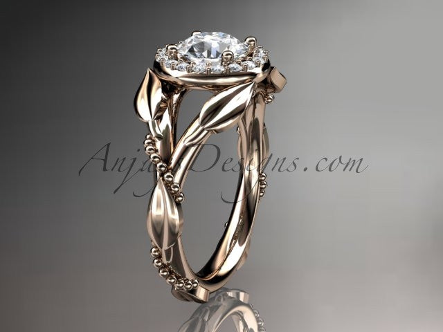 "14kt rose gold diamond leaf and vine wedding ring, engagement ring with a ""Forever One"" Moissanite center stone ADLR328 - AnjaysDesigns"
