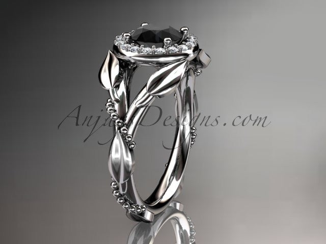 Platinum diamond leaf and vine wedding ring,engagement ring with a Black Diamond center stone ADLR328 - AnjaysDesigns