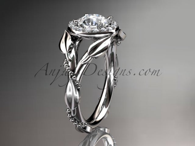 "14kt white gold diamond leaf and vine wedding ring,engagement ring with a ""Forever One"" Moissanite center stone ADLR328 - AnjaysDesigns"