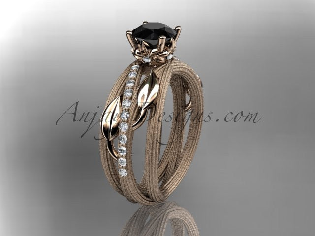 14kt rose gold diamond leaf and vine wedding ring, engagement ring with a Black Diamond center stone ADLR329 - AnjaysDesigns