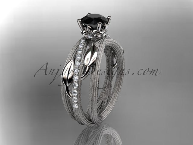 14kt white gold diamond leaf and vine wedding ring, engagement ring with a Black Diamond center stone ADLR329 - AnjaysDesigns