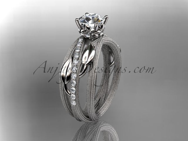 Platinum diamond leaf and vine wedding ring, engagement ring ADLR329 - AnjaysDesigns