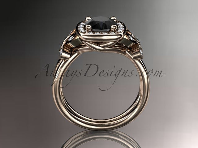 14kt rose gold diamond unique butterfly engagement ring, wedding ring with a Black Diamond center stone ADLR330 - AnjaysDesigns