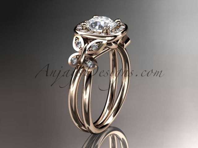 "14kt rose gold diamond unique butterfly engagement ring, wedding ring with a ""Forever One"" Moissanite center stone ADLR330 - AnjaysDesigns"