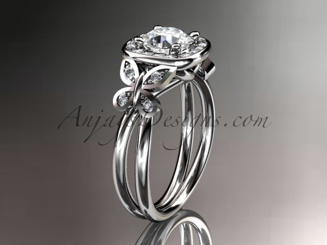 "Platinum diamond unique butterfly engagement ring, wedding ring with a ""Forever One"" Moissanite center stone ADLR330 - AnjaysDesigns"