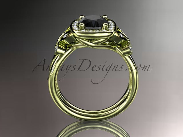 14kt yellow gold diamond unique butterfly engagement ring, wedding ring with a Black Diamond center stone ADLR330 - AnjaysDesigns