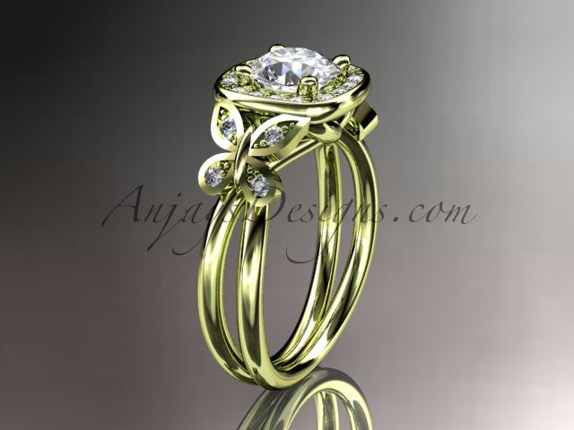 "14kt yellow gold diamond unique butterfly engagement ring, wedding ring with a ""Forever One"" Moissanite center stone ADLR330 - AnjaysDesigns"
