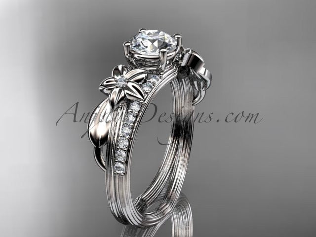 Platinum diamond leaf and vine wedding ring, engagement ring ADLR331 - AnjaysDesigns