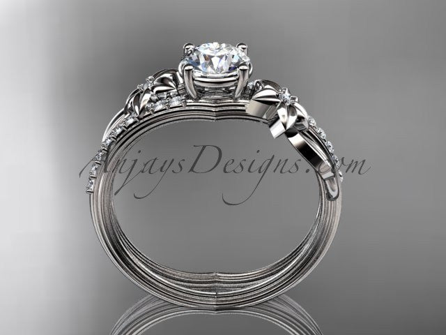 "14kt white gold diamond leaf and vine wedding ring, engagement ring with a ""Forever One"" Moissanite center stone ADLR331 - AnjaysDesigns"