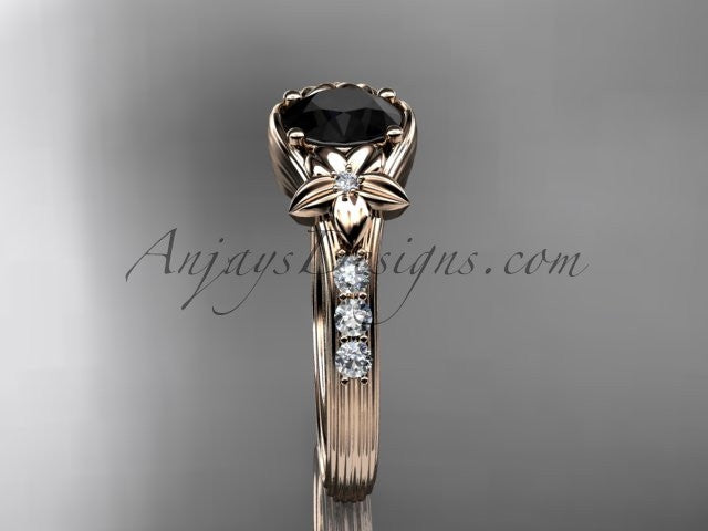 Unique 14k rose gold diamond leaf and vine, floral diamond engagement ring with a Black Diamond center stone ADLR333 - AnjaysDesigns