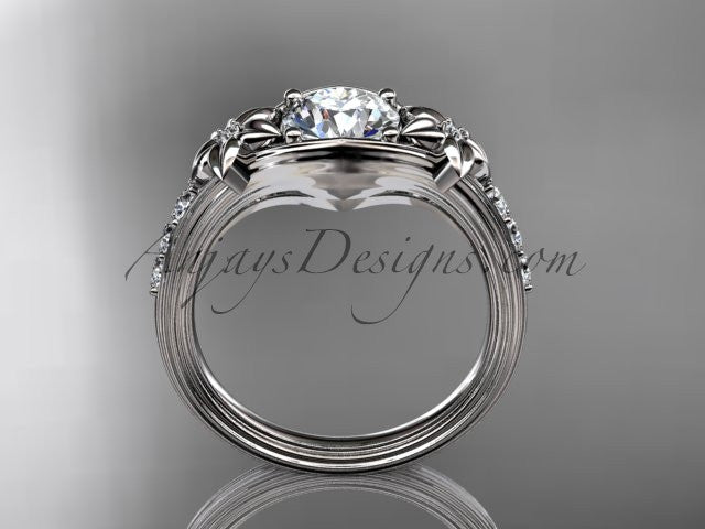 "Unique Platinum diamond leaf and vine, floral diamond engagement ring with a ""Forever One"" Moissanite center stone ADLR333 - AnjaysDesigns"