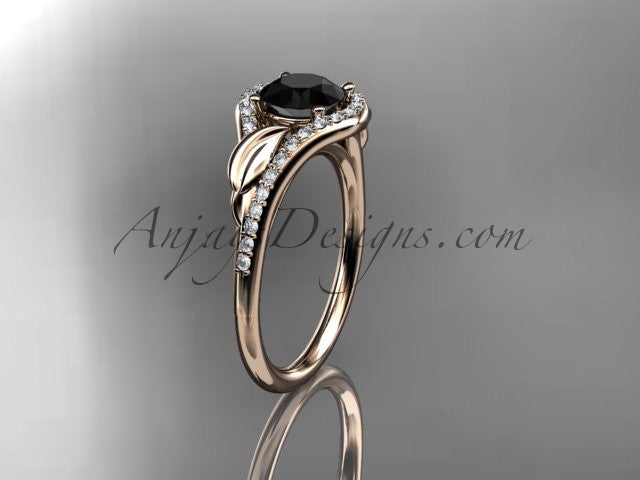 14kt rose gold diamond leaf wedding ring, engagement ring with a Black Diamond center stone ADLR334 - AnjaysDesigns