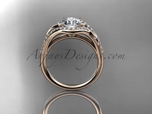 "14kt rose gold diamond leaf wedding ring, engagement ring with a ""Forever One"" Moissanite center stone ADLR334 - AnjaysDesigns"