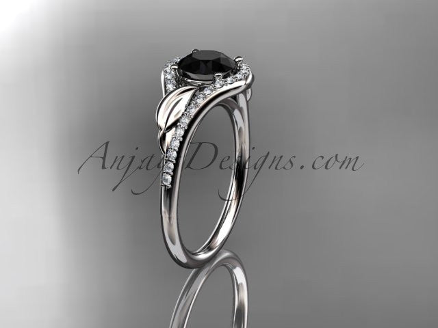14kt white gold diamond leaf wedding ring, engagement ring with a Black Diamond center stone ADLR334 - AnjaysDesigns