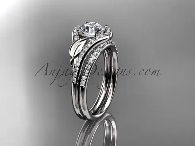 14kt white gold diamond leaf wedding set, engagement set ADLR334 - AnjaysDesigns