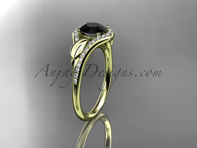 14kt yellow gold diamond leaf wedding ring, engagement ring with a Black Diamond center stone ADLR334 - AnjaysDesigns