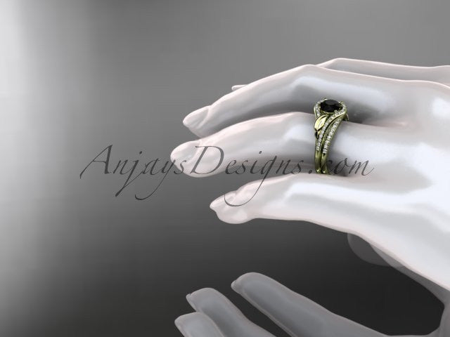 14kt yellow gold diamond leaf wedding set, engagement set with a Black Diamond center stone ADLR334 - AnjaysDesigns