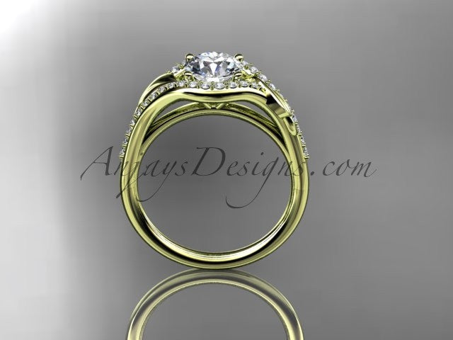 14kt yellow gold diamond leaf wedding ring, engagement ring ADLR334 - AnjaysDesigns