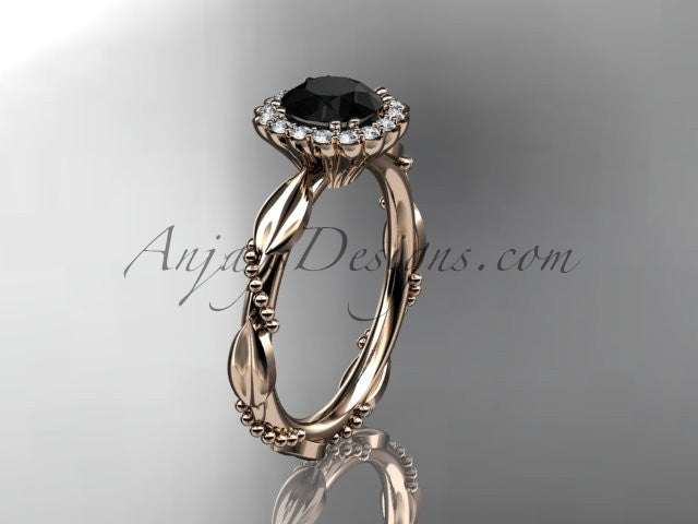 14kt rose gold diamond leaf and vine wedding ring, engagement ring with a Black Diamond center stone ADLR337 - AnjaysDesigns