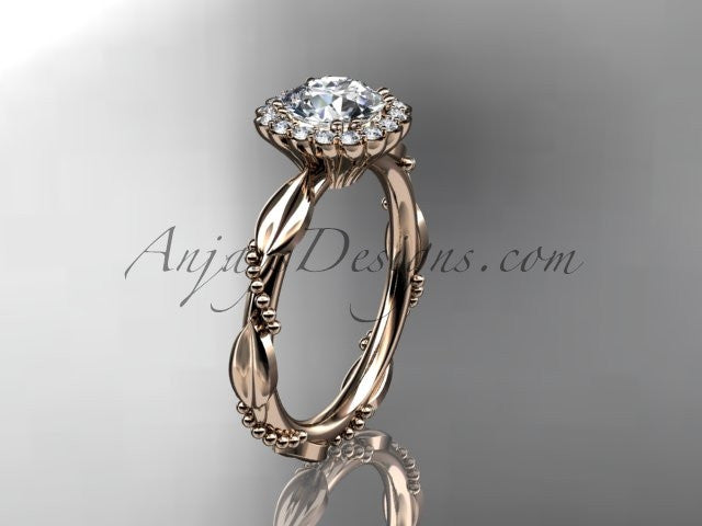 14kt rose gold diamond leaf and vine wedding ring, engagement ring ADLR337 - AnjaysDesigns