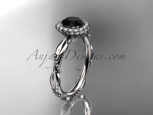 14kt white gold diamond leaf and vine wedding ring, engagement ring with a Black Diamond center stone ADLR337 - AnjaysDesigns