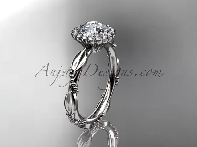 Platinum diamond leaf and vine wedding ring, engagement ring ADLR337 - AnjaysDesigns